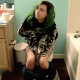 A skinny girl with tattoos and punky green hair records herself taking her morning shit and a piss into a toilet in 2 different scenes. First scene is very runny. Second scene features many plops. No product shown. 720P HD. About 8.5 minutes.