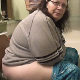 In this series, a couple of older, fat girls record themselves taking a shit while sitting on a toilet. Audible pissing, but plop is hard to hear. She fishes the turd out of the toilet bowl when finished for a better view. Over 3 minutes.