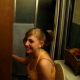 A low-resolution video clip featuring two similar scenes of a person with a camera barging into a bathroom to get a fleeting glimpse of a girl pooping on the toilet.