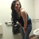 Aurelia farts repeatedly until she finally sits down on a public restroom toilet to relieve herself with some audible pissing and shitting. 6 minutes.