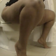 A fat girl records herself shitting and pissing while sitting on a toilet. Clear plops sounds are heard as soon as she sits down on the pot. No visible poop or action shown, but she does show us her dirty toilet paper. Over 6 minutes.