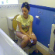 This  voyeuristic video features a British girl pooping while sitting on a toilet. Nice grunting and pooping sounds as she strains to get it all out. Slower frame rate causes slight audio lag. About 4 minutes.
