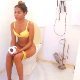 An attractive black girl records herself a taking loose, wet shit while sitting on a toilet. Product is shown in toilet bowl. About 3.5 minutes.