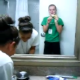 A girl enters the bathroom after her friend poops. While the girl who just pooped washes her hands, the shit is still sitting in the toilet. Her friends are marveled & disgusted at the same time as they view the spectacular mess left in the toilet!