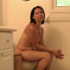 A brunette, Canadian girl takes a shit while sitting on a toilet. She wipes her ass close to the camera and then shows her finished product in the toilet. Presented in 720P HD video. Over 4.5 minutes long.