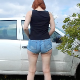 A redhead girl takes a piss and a massive dump beside her parked car on the side of the road. She wipes her ass when finished. Presented in 720P HD. About 3.5 minutes.