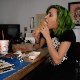 A skinny girl with tattoos and punky green hair does a Dine & Dump video by eating a chili dog, then records herself shitting it out later. Pissing and a runny, soft-sounding dump is heard as soon as she sits down. 720P HD. About 8.5 minutes.
