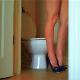 A blonde woman wearing high-heeled shoes speaks to us while taking a piss sitting on a toilet. Over 2.5 minutes.