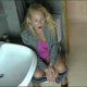 A mature, blonde, Dutch woman is recorded from 2 different angles as she takes a shit while sitting on a toilet. Audible plop noises, and she finishes with a piss and a wipe. About 8 minutes.