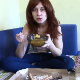 In this dine & dump video, a mature, Italian woman with red-dyed hair eats pizza and corn, then later shits it all out. She shows us the details of her product, including the pieces of corn in her poop. 720P HD.  Over 9 minutes.
