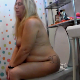 A fat, blonde woman takes a shit while sitting on a toilet. She shows us her dirty toilet paper and the finished product afterwards. Presented in 720P HD video. About 6.5 minutes.