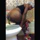 A black girl bends over in front of a toilet while taking a massive shit that keeps coming out. Some pissing. Presented in 720P HD vertical HD format. About 1.5 minutes.