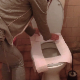 An Eastern-European woman places toilet paper over the toilet seat, sits down and pushes. We eventually see a smile and a sigh of relief with a subtle plop sound. She shows us a massive turd that has trouble flushing down. 720P HD. About 5 minutes.
