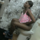 A black girl sits on a toilet farting repeatedly and seems to shart a small amount. Presented in 720P HD. About 4 minutes.