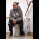Bianca is all blimped out and pregnant in this video. She sits down on a public restroom toilet, cuts an airy fart, pushes and takes a shit. Pooping sounds are difficult to hear due to turd length. Vertical format video. About 3 minutes.