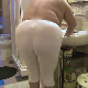 A fat woman takes a shit in her tight, white pants. She pulls the pants down to show off the load, which falls into a bidet. See movie 9164 for more. Presented in 720P HD. About 1.5 minutes.