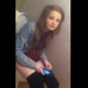 A Welsh girl says she is taking a poo and complains that she is constipated. She comments about her own smell. No audible pooping or poop shown. Over 2 minutes.