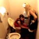 Two girls take turns using the toilet. The first girl pees. The second girl takes a shit and spends a good amount of time wiping her dirty ass. She tosses the dirty TP in the bidet. No audible poop sounds because of background noise, but great video!