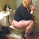 A fat, blonde girl tells us she has to poop, sits on a toilet, takes a soft-sounding, crackling, gassy shit and a piss. Pooping sounds are subtle, but audible. She uses wet wipes to clean up her messy ass and complains about the stink. About 4.5 minutes.
