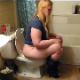 A fat, blonde girl farts repeatedly while sitting on a toilet. There does not appear to be any pooping in this clip. Over 2 minutes.