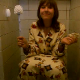 A home video clip from Eastern Europe featuring a girl in her pajamas using the toilet. We are not sure if she is peeing, pooping, or both.