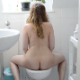 A cute, plump girl tries taking a shit into a toilet while naked in the first 2 scenes. Small, hard plops are heard. In the third scene, she finally has success in which louder, larger and somewhat softer plops are heard. 720P HD. About 8 minutes.