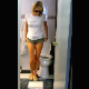 An attractive woman wearing sunglasses takes a huge, heaping shit on her own bathroom floor and then wipes her ass. Over 2 minutes.