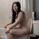 A pudgy brunette girl takes her hefty morning shit right after waking up and still in the nude. Her big ass on the toilet is a delight to see! No poop is actually seen, but pooping sounds are excellent! Over 4.5 minutes.