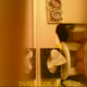 A hidden camera records a woman peeing on a toilet, then wiping herself.