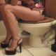 A woman sits on a toilet, lights a cigarette, and then has a wet-sounding shit with several nice plops. Next, she starts farting and then has a nice diarrhea explosion. All the while, she is wearing nice, high-heeled shoes.