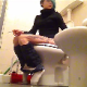 A short-haired brunette girl with dyed highlights sits down on a toilet. Multiple plops and pissing is clearly heard. She wipes when finished. There is technical glitch at the beginning of the clip, but no poop action is missed. About 3.5 minutes.