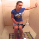 A pretty Bulgarian girl records herself with a wide-angle lend camera taking a piss, a shit, and vaping while sitting on a toilet. Plops are audible. Presented in 720P HD. About 5 minutes.