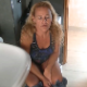 A blonde, mature woman records herself taking a much needed piss and a shit while sitting on a toilet and then wiping her ass. Pissing is loud, but poop sounds are more subtle. Presented in 720P HD. About 2.5 minutes.