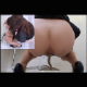 A Japanese girl takes a soft shit into a floor toilet with voyeuristic filming style and dual-angle, picture in picture videography. Exactly 1 minute.