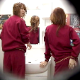 A Japanese video featuring several women wearing red sweatsuits shitting or pissing into a floor toilet and filmed from multiple angles. About 19 minutes. High quality, 281MB, MP4 file requires high-speed Internet.