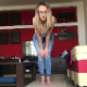 A pretty, blonde, Romanian girl wearing glasses takes a break from her studies when the urge to poop gives her severe cramps. She spreads her legs and takes a huge shit right there  on her living room floor. Presented in 720P HD. About 6 minutes.