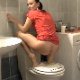 A pretty, brunette Serbian girl takes a hard, chunky shit while squatting over a closed commode lid. She wipes her ass, picks up her poop with her bare hand and shows it to the camera. Over 2 minutes.
