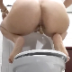 A German woman squats above a toilet and takes a massive, long shit and a piss. About 1.5 minutes.