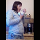 In this dine & dump video, a woman prepares food in the kitchen and eats several meals before pissing into a toilet and shitting into her bathroom sink. Vertical format video. Slower frame rate video. 161MB, MP4 file. Over 28.5 minutes.