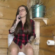 An Italian girl speaks on her mobile phone with a business call while shitting into a toilet. Big, wet plops are heard, and she blames the sound on her pet fish. There are 2 scenes in this clip. About 7.5 minutes.