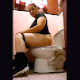A plump, mature, Hispanic woman takes a piss and shit while sitting on a toilet in a public restroom at a noisy pub. Despite all of the background noise, we can still hear her plops. Vertical format video. Over 5.5 minutes.