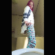 A girl with pink dyed hair and loud patterned pants records herself taking a piss and a wide, hard, chunky shit while bending over a toilet. See movie 9225 for more. Presented in 720P vertical HD format. Over a minute.