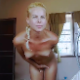 Standing naked in her kitchen and desperate to poop, a pretty, blonde, European girl shows off her body, then finally takes a massive shit onto the floor. She picks it up, sniffs it, and shows it to the camera. Presented in 720P HD. About 7 minutes.