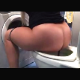 A blonde girl cuts a loud a fart, takes a soft shit and then wipes herself while sitting on toilet. Poop action is clearly visible. Finished product shown in toilet bowl. About 5 minutes.