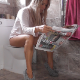 An attractive, blonde girl pisses, farts repeatedly, and takes a shit while sitting on a toilet. Some unnecessary straining, but plops are heard at 1:02 and 1:06 into the clip. She wipes with the newspaper she was reading. 720P HD. About 5 minutes.