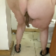 One of our users records his large wife taking a semi-solid shit on a tile floor. She spreads her ass cheeks to show off her dirty ass. Presented in 720P vertical HD format. About a minute.