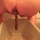 One of our users records his large wife taking a large, soft shit into a plastic tub.