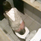 A daring, voyeur cameraman gets some shots of about 9 different girls using the toilet in a adjoining public restroom stall taking a piss. It almost appears that he is discovered at the end of the video. Peeing only. Square format video. About 4 minutes.