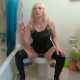 As your punishment for not cleaning the bathroom, a blonde American girl smokes a cigarette as she takes a shit sitting on a toilet, forcing you to smell her crap and clean up after her. Nice plops are heard. Presented in 720P HD. About 6 minutes.