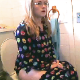 A blonde girl wearing glasses takes her routine dump in the morning while sitting on a toilet. A series of nice, clear plops are heard as well as some pissing. Over 4 minutes.